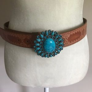 Accessories - Turquoise Belt Buckle and Genuine Leather Belt